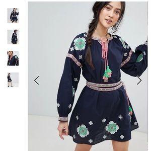 Rd & Koko Long Sleeve Embroidered Skater Dress